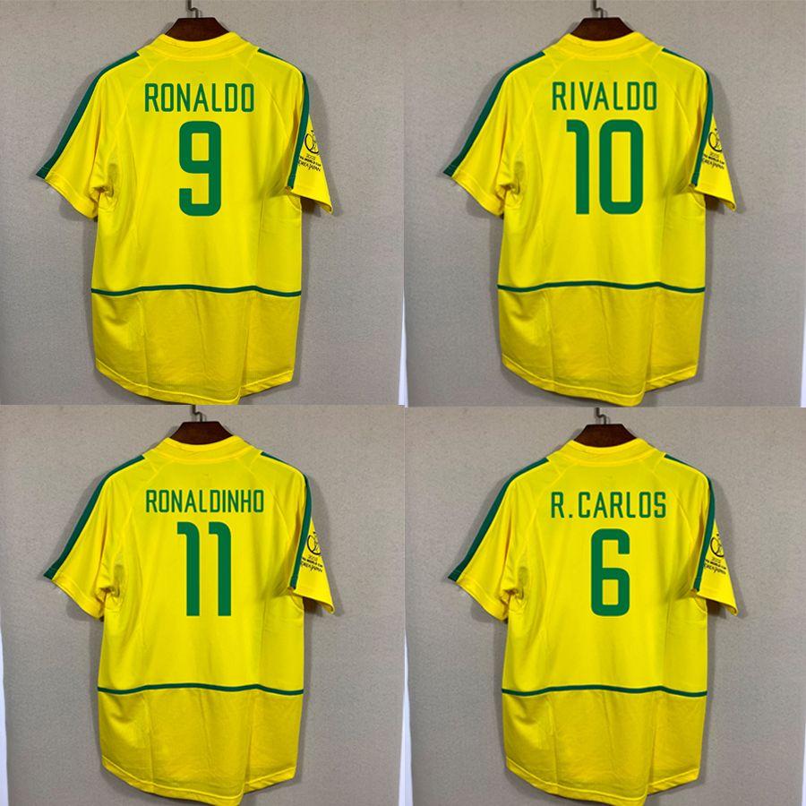 BR Fani Retro Tee Najwyższej Jakości 2002 Koszula domowa Maglia Camiseta Fubol Football Ronaldo Ronaldinho Kaka Rivaldo Robert Carlos Cafu Maillot De Foot Futebol