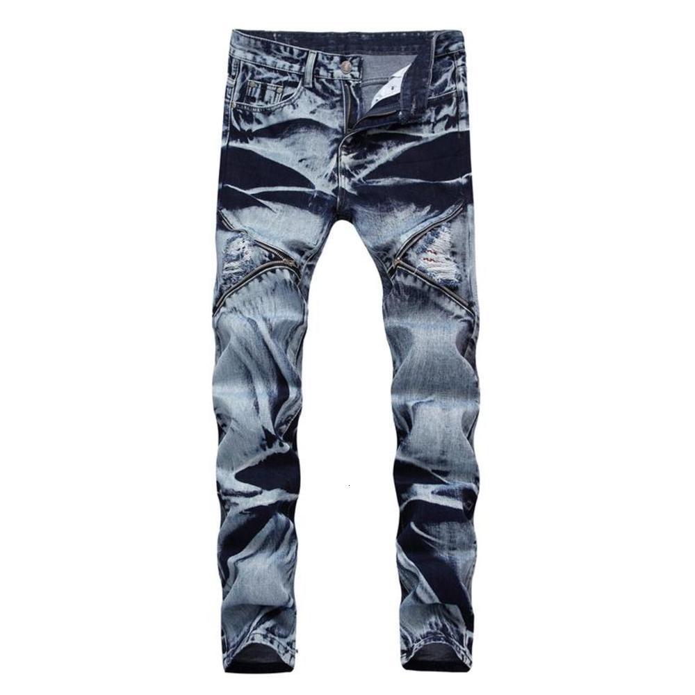 Herren Gedruckte Plissee Biker Jeans Männer Slim Skinny Motocycle Ripping Löcher Reißverschlüsse Retro Denim Hosen für männliche Hosen