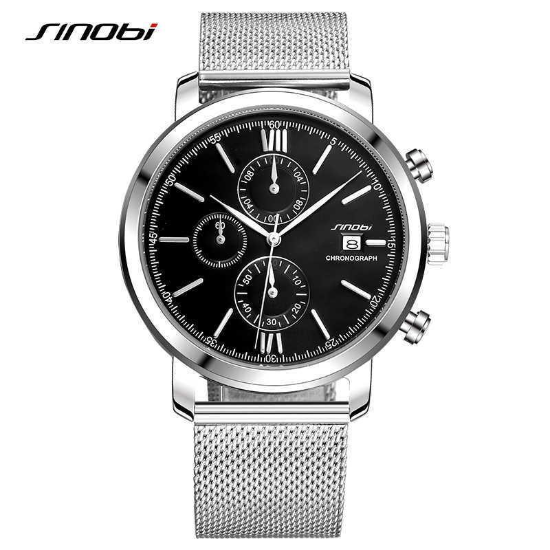 Sinobi Top Men's Watches Sports Chronograph Wrist Watches with Week Display Date Full Steel Top Brand Luxury Relogio Masculino Q0524