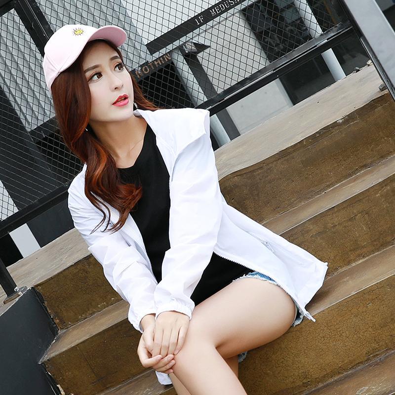 Women's Hooded Jackets 2021 Summer Causal Fashion Women Basic Coats Windbreaker Zipper Lightweight Bomber Famale