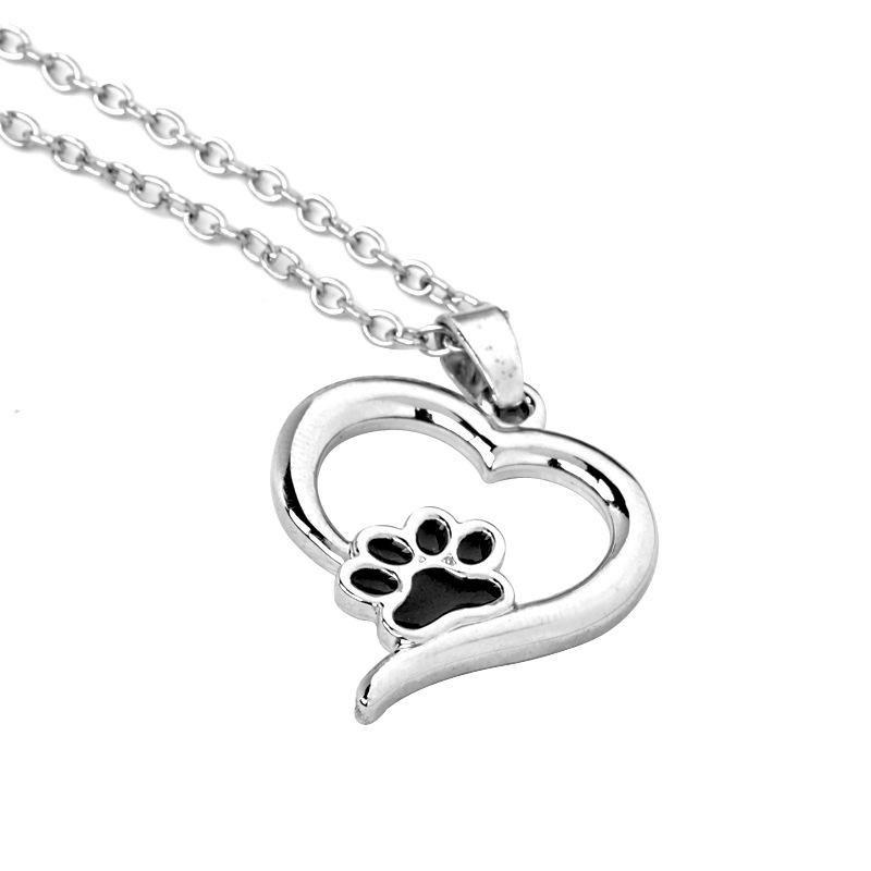 Hohl Lucky Footprint Liebe Herz Tier Tier Hund Anhänger Halskette Frau Mutter Mädchen Geschenk Hochzeit Segen Schmuck Halsketten