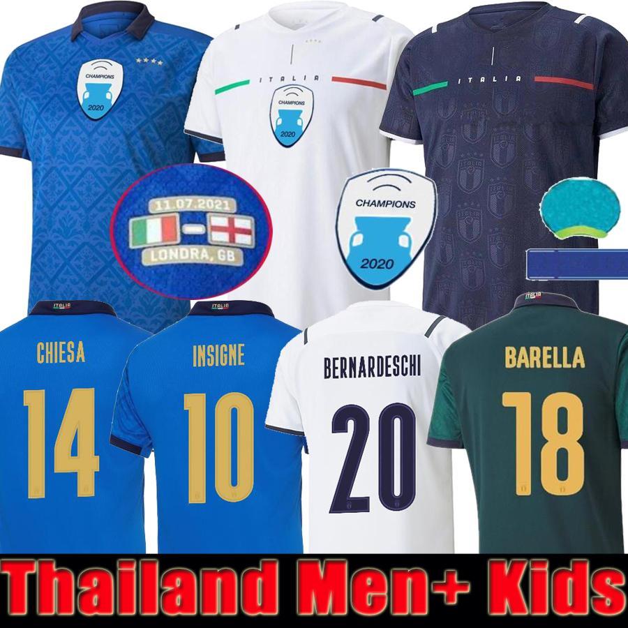 Italy jersey Tailandia 2021 camiseta de fútbol de Italia INSIGNE BERNARDESCHI camisetas de fútbol SENSI BARELLA BELOTTI JORGINHO kits de hombres y niños conjuntos uniforme