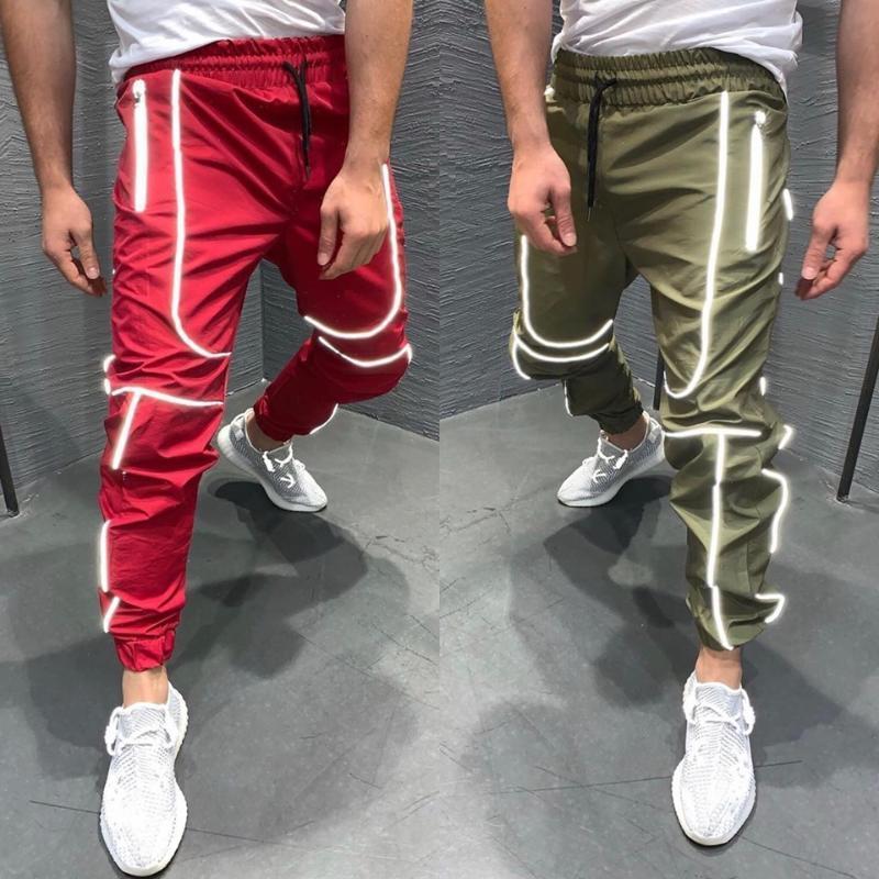 반사 바지 남자의 거리 밤 힙합 얇은 섹션 건강 의류 패션 상품 조깅 캐주얼 바지
