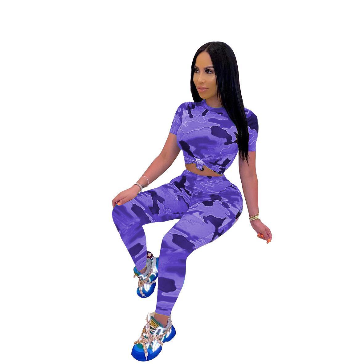 Frühling Casual Camouflage Frauen Zwei Stück Set Kurzarm Hemd Crop Top + Lange Hosen Sportwear Jogging Kleidung Für Frauen Outfit F0512