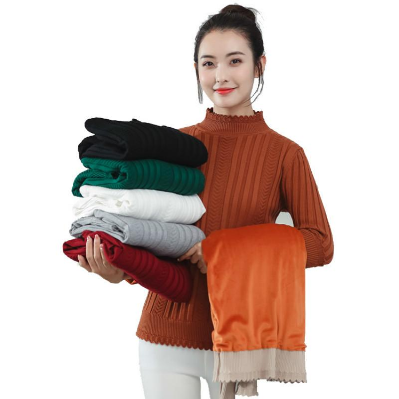 Chic Herbst Winter Dicke Pullover Pullovers Frauen Langarm Casual Warme Basic Turtscheck Pullover Weibliche Strickrohrer Top 210412