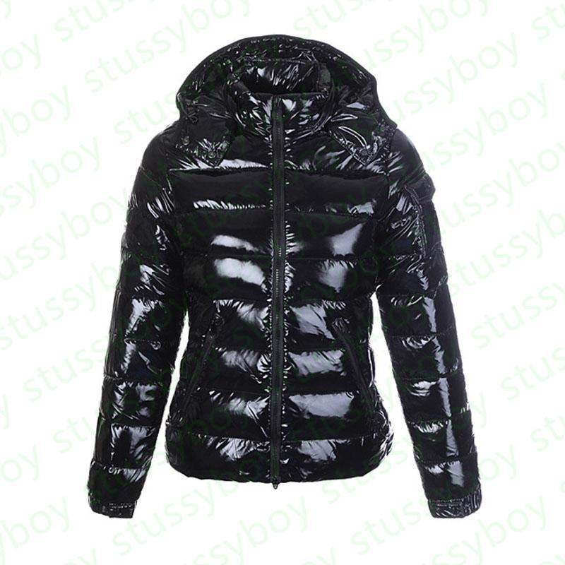 Moda Womens Parka Lustroso Down Jacket Hood Estilo Britânico Negro Brilhante Mulheres Casacos Doudoune Femme Preto Matte Inverno Casaco Parkas