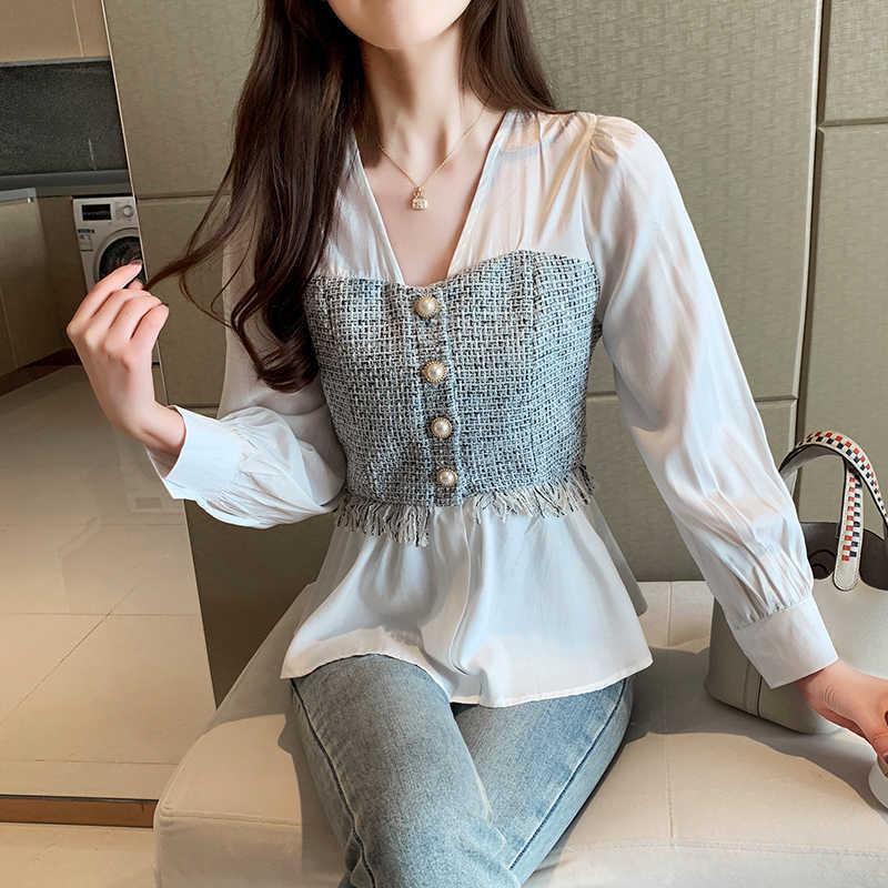 PLUS Taille Solide Solide Manches Long Shirt Mode Office Lady Tops de style coréen Femmes épissé Chemis de mousseline de mousseline en mousseline de mousseline en Vc féminina Chemise 210602