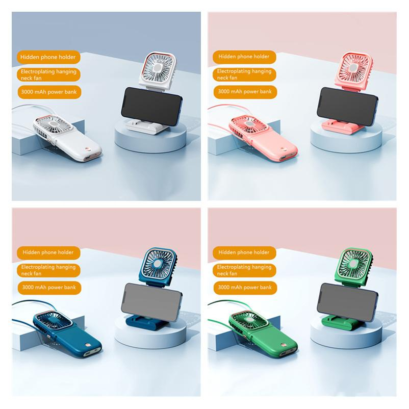 2021 Electric Fans USB ultra-thin portable folding hanging neck fan handheld charging treasure desktop stand mute mini F20 F30