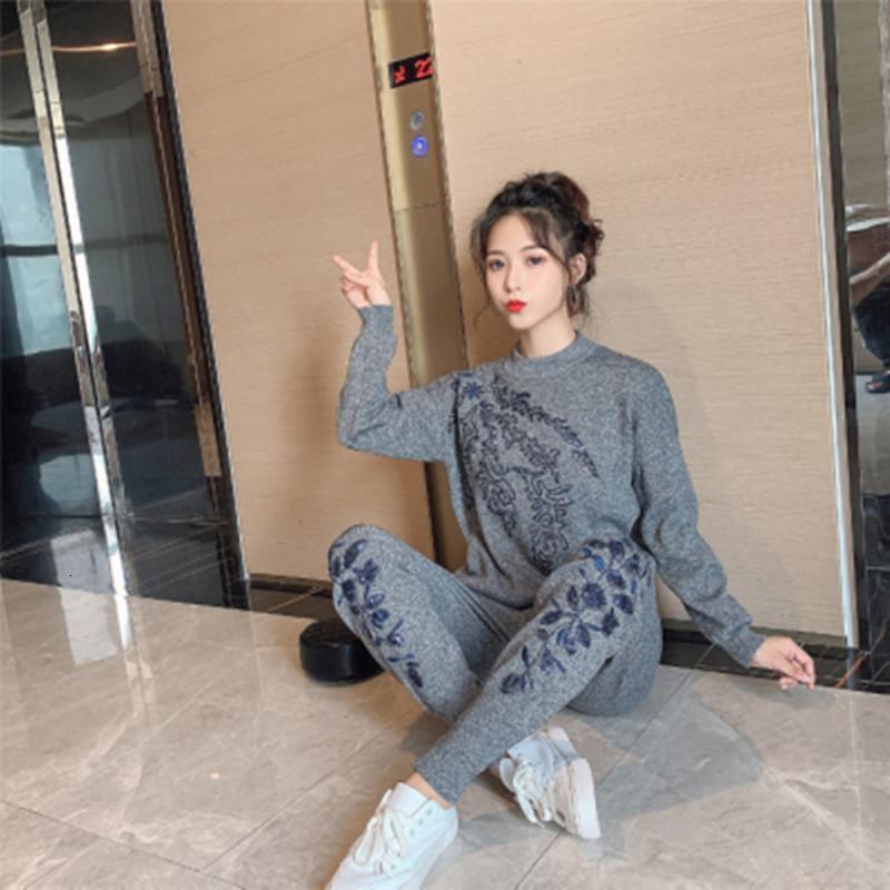 Yüksek Kalite 2020 Sonbahar Bayan Eşofman Seti Nakış Uzun Kollu Örme Kazak + Rahat Küçük Ayaklar Pantolon Kadın İki Adet