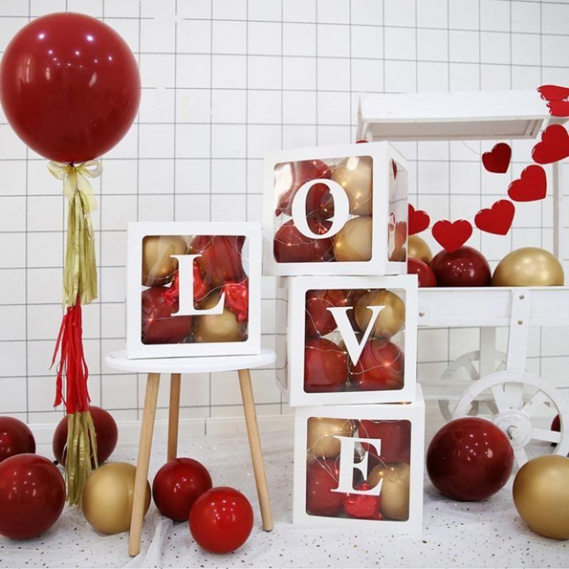 Temizle Karton Kutusu Mektubu A-Z Balon Temiz Ekran Bebek Duş Süslemeleri Mutlu Doğum Günü Dekorasyon Dekor Odası Malzemeleri için Hediye Paketi