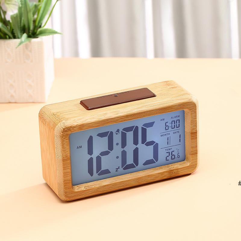 Wooden Digital Alarm Clock,Sensor Night Light With Snooze Date Temperature Clock LED Watch Table Wall Clocks HWF7115