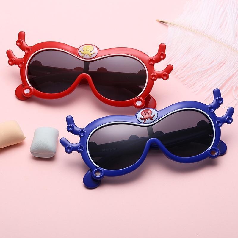 Lunettes de soleil en silicone pour garçons et filles Creative Octopus en forme de lunettes pour enfants en forme d'extérieur anti-ultraviolet polarisé