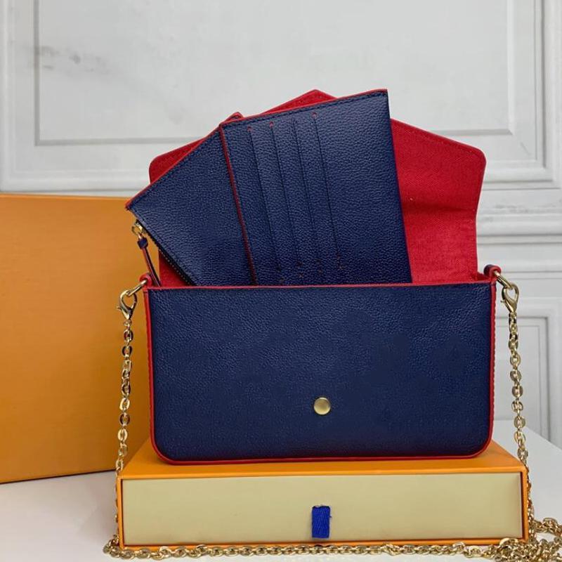 الأكمام المصممين الفضلات حقائب محفظة امرأة الأزياء monogrames متعددة pochette felicie سلسلة حقيبة crossbody حقيبة الكتف مع مربع الغبار الأصلي جودة عالية 063001