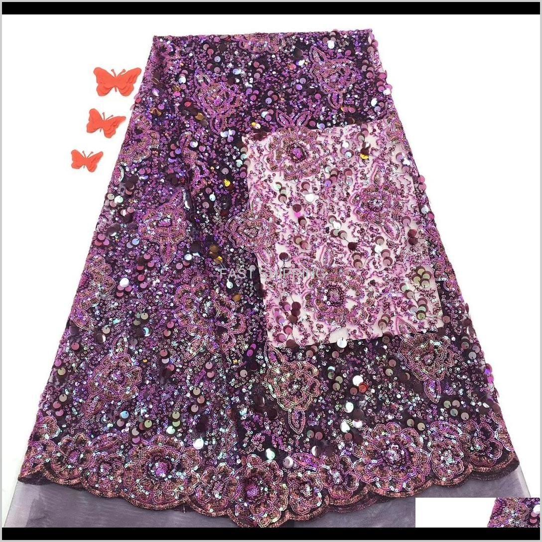 Abbigliamento Abbigliamento Africano Tessuto viola di alta qualità con paillettes in tulle francese pizzo per il partito nigeriano Consegna a goccia 2021 KJG9O