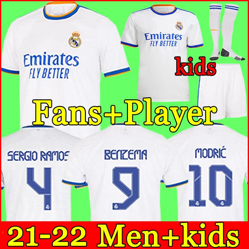 Real Madrid Maillots de football 21 22 HAZARD SERGIO RAMOS VINICIUS camiseta maillot de uniformes hommes + enfants enfant kits ensembles 2021 2022 de la soccer jerseys tops