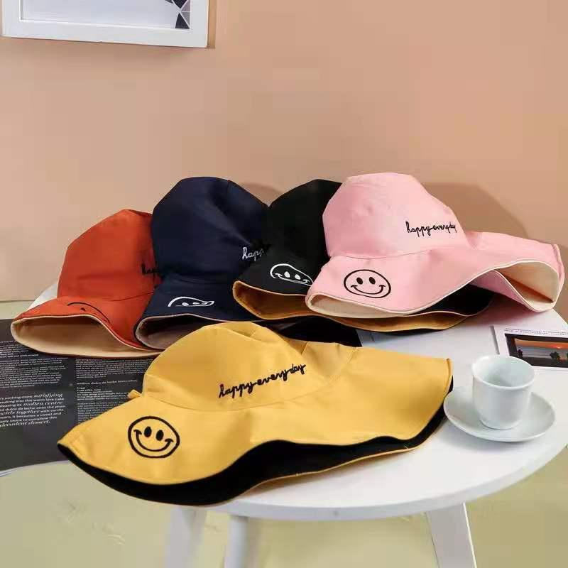 Wide Brim Hats Anti-UV Smile Sun Hat Women's Bucket Panamanian Beach Visor Outdoor Cap Sunscreen Fisherman Gift