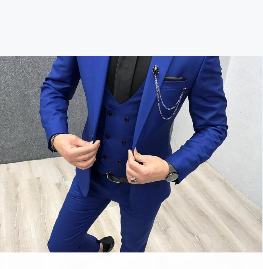 Royal Blue Wedding Tuxedos 2020 Fashion Groom Outfit Classic Fit Peaked Lapel prom Party Dinner Mens Suits 3 Piece Suit(Jacket+Vest+Pants)