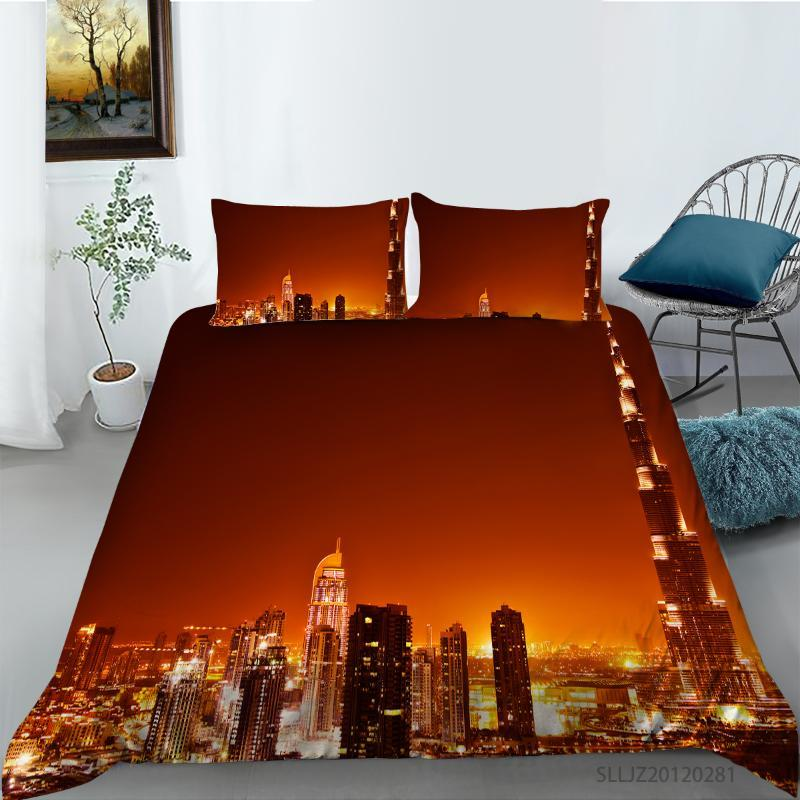 Bedding Sets 3D Night View Of City Buildings Printing Queen Set Duvet Cover With Pillowcases Bed 2/3pcs