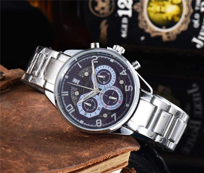 남자 시계 비즈니스 패션 Reloj de Lujo 스테인레스 스틸 다기능 석영 시계 스포츠 캐주얼 군사 Orologio 디 Lusso Montre Luxe