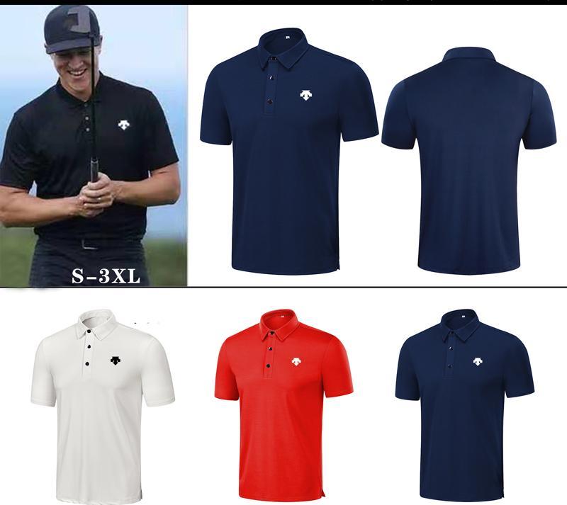 T-shirt da uomo manica corta estate 4 colori vestiti da golf in tessuto di asciugatura rapida camicia per il tempo libero all'aperto