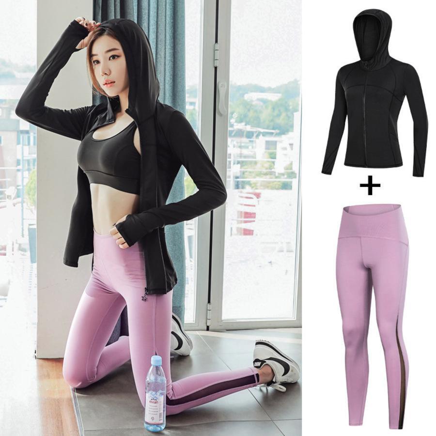 Ropa de mujer yoga nueva primavera y otoño gimnasio alto elástico set transpirable sólido color de manga larga chaqueta deportiva dos F6CD