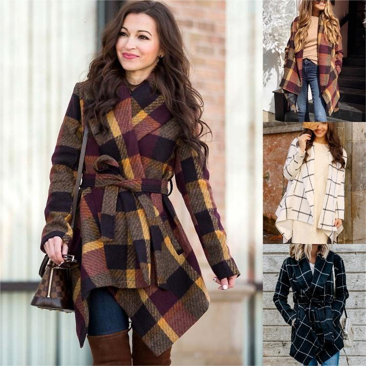 Autunno Inverno Donne Plus Size Skirt Mid-Lunghezza Giacca Giacca A Stehs Plaid Moda Woolen Tweed Blends Cashmere Cappotto con cintura Cappotto