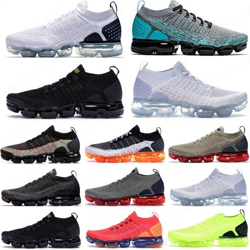 2018 جودة عالية الاحذية chaussures moc 2 laceless 2.0 عارضة الثلاثي الأسود مصمم الرجال المرأة ذبابة بيضاء متماسكة وسادة المدربين 36 ~ 45