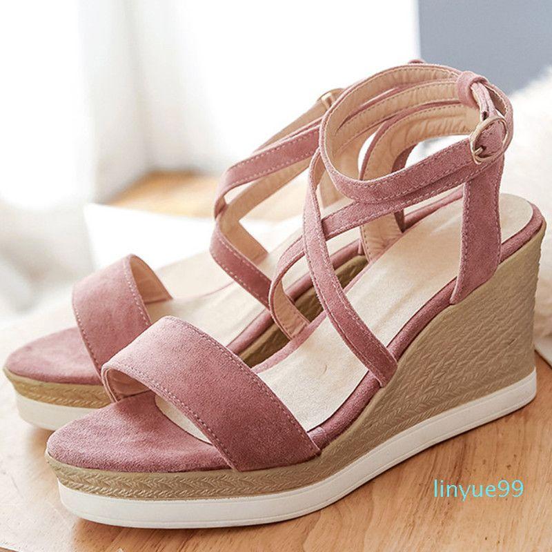Designer Frauen Sandalen Sommer 2020 Weibliche Schuhe Frau Offene Zeh High Heels Knöchelband Damen Sandalen Rosa Plus Größe 32 32 42 43 Q0224