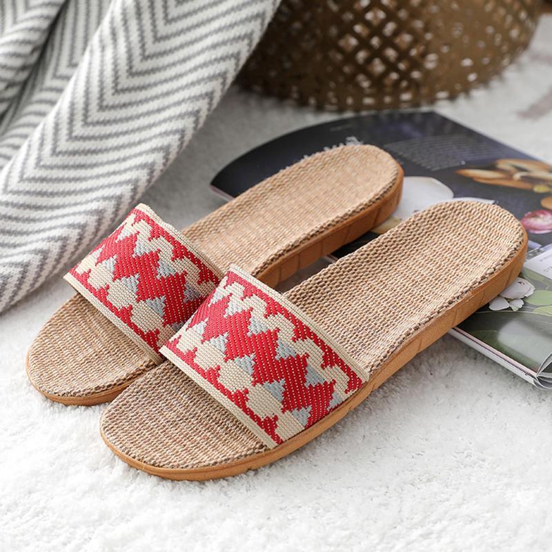 Kadınlar ev terlik kapalı yatak odası keten slaytlar yumuşak hafif rahat çift ayakkabı keten flip flop varış rahat