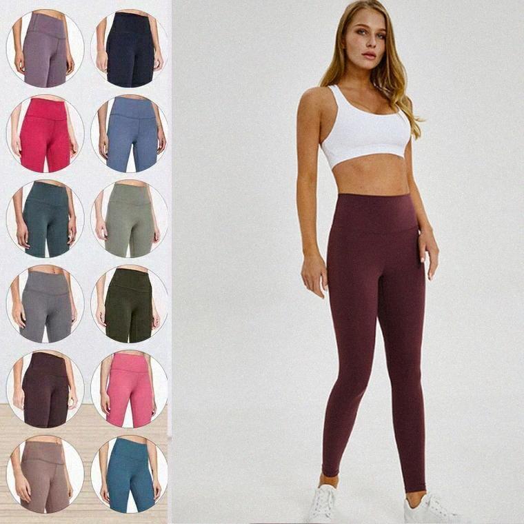 LU-32 Lu Leggings Womens Yoga Anzug Hosen Hohe Taille Sport Anheben Hüften Fitnessstudio Tragen Richten Elastische Fitness Strumpfhosen Workout H2FG #