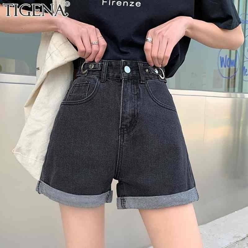 Tigena Tallas S-5XL S-5XL Cintura de algodón de alta cintura para mujer Summer Casual All-Match Jeans pantalones cortos Mujer con bolsillo negro blanco 210408