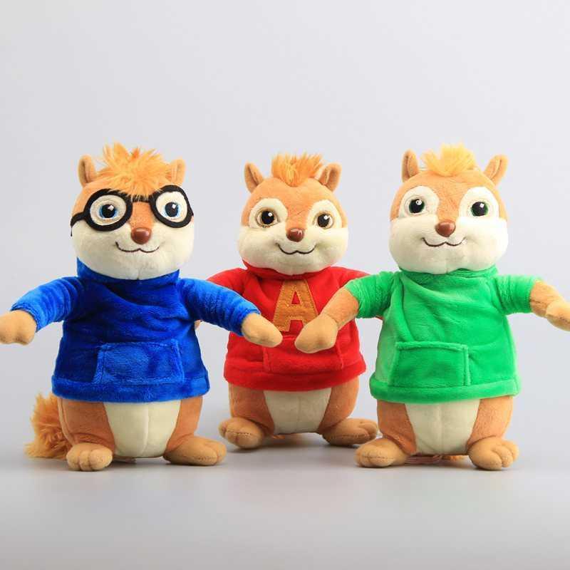 """Película Juguetes Alvin y las chipmunks Muñecas de peluche Lindas Chipmunks Toys Toys Niños Regalo 9 """"22 cm 210706"""