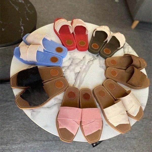 2021 Neueste Marke Leinwand Frauen FFRAT Rom Woody Slipper Deisgner Dame Schriftzug Stoff Outdoor Leder Sohle Slide Kreuz Geflochtene Band Sandale