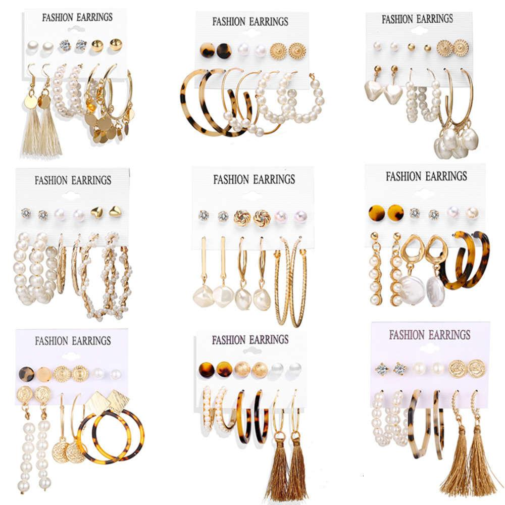2021 Mode Ohrring Set Schmuck Gold Pearl Stud Aussage Ohrring Acryl Quaste Hoop Ohrringe Für Frauen