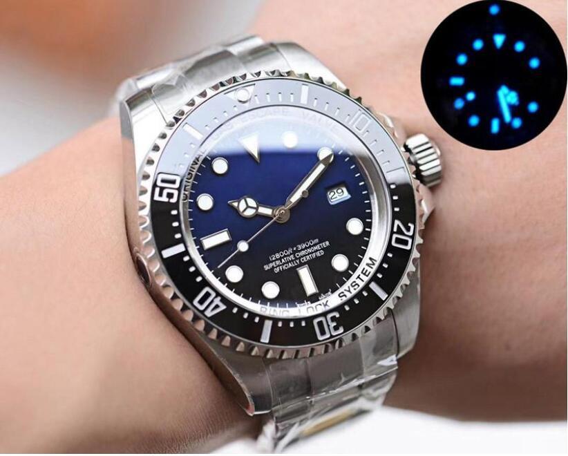 클래식 남성 스테인레스 스틸 시계 직경 44mm 스테인레스 스틸 시계 스트랩 자동 기계식 망 방수 시계