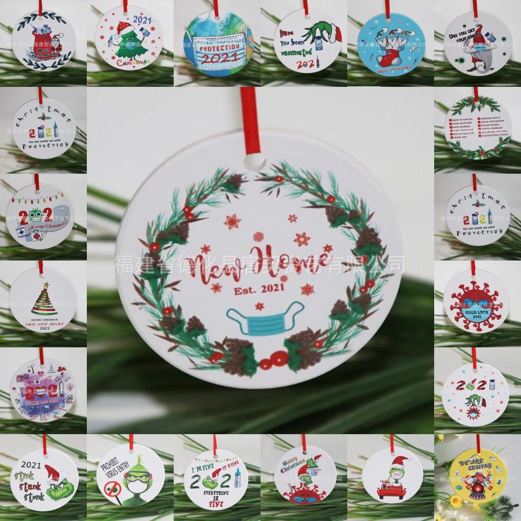 Grinch Quarantine Ornamento di Natale ornamento Xmas pendente pendente in sublimazione Blanks personalizza per l'arredamento dell'albero che indossa la maschera Designer 2021 DHL Ship FY4832