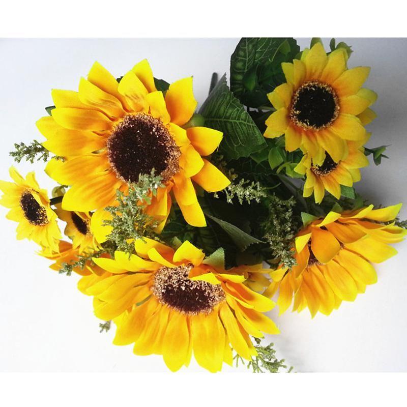 13 головы шелковые подсолнечники искусственные поддельные цветы 7 филиал / букет для домашнего офиса партии сад отель свадебное украшение OOD5895
