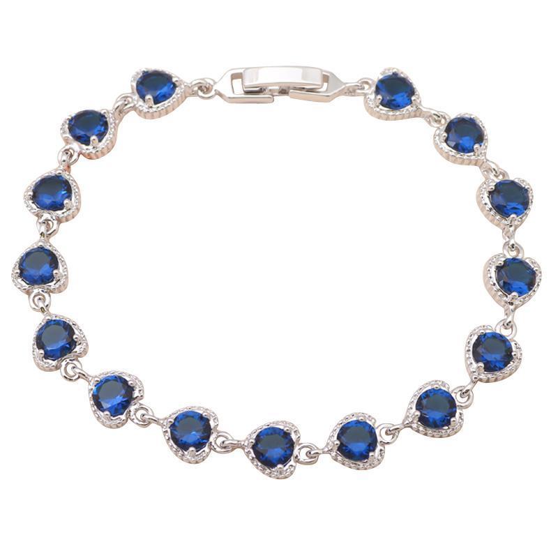 Pırıltılı Aksesuarlar Kalp Tasarım Derin Mavi Kristal Beyaz Altın Ton Charm Bilezikler Sağlık Moda Takı TB469A Bağlantı, Zincir