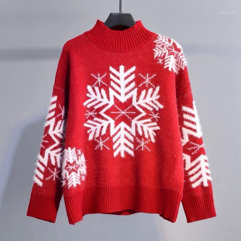 Red Christmas Sweater Mujeres Otoño Invierno Coreano Puente suelto Copo de nieve Jacquard Half Turtleneck Pullover Tops Soft Warm A0991