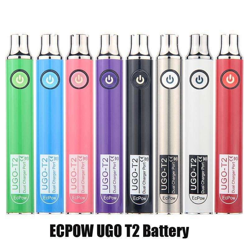 ECPOWE Ugo T2 Tensione variabile 650mAh 900mAh Battery Preheat VV Dual Charger Port Pen Batterie Penna Paper per 510 Cartucce per olio spessa