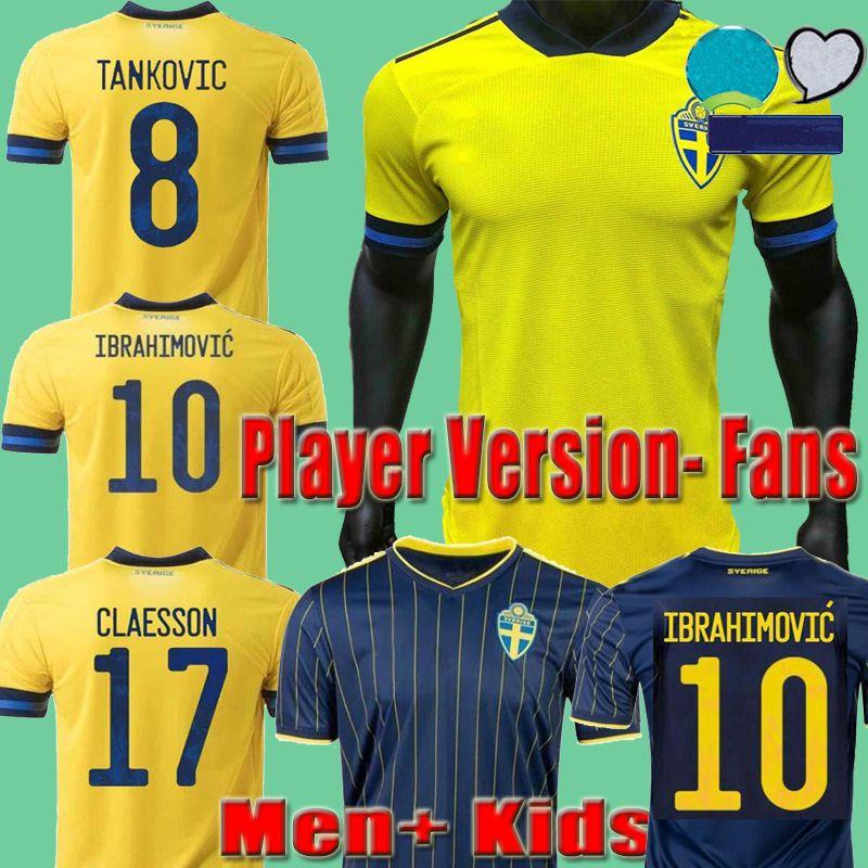 2021 Sweden لاعب نسخة لكرة القدم جيرسي المشجعين 20 21 إبراهيموفيتش فورسبيرغ بيرغ Guidetti Camisetas الرجال + أطفال موحدة مجموعات المنزل الأصفر مايلوت لكرة القدم قمصان
