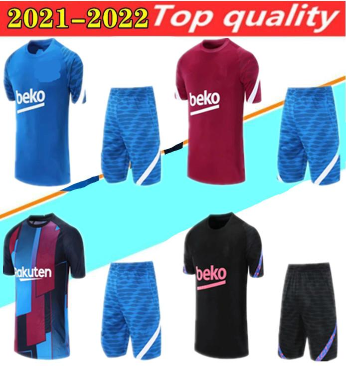 2021Short 소매 + 긴 축구 유니폼 폴로 훈련 정장 남자 키트 메시 샹들 Futbol F. De Jong Ansu Fati Pique Football Suits