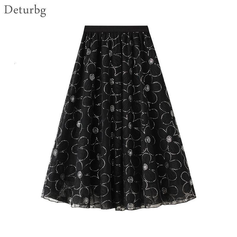 Vestidos casuales elegante de mujer con lentejuelas con lentejuelas falda coreana femenina alta cintura 3 capas malla de encaje negro a línea Midi faldas 2021 Spri