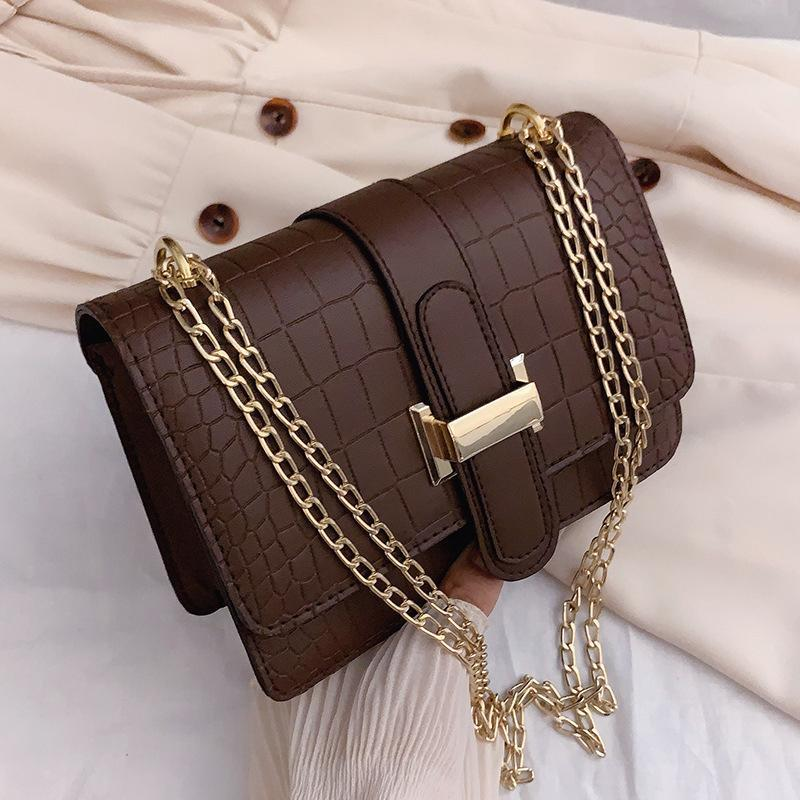 Shoulder Bags PU Leather Luxury Designers Handbags For Women 2021 Girls Female Casual Shoppers Fashion Solid Color Stone Chains Crossbody