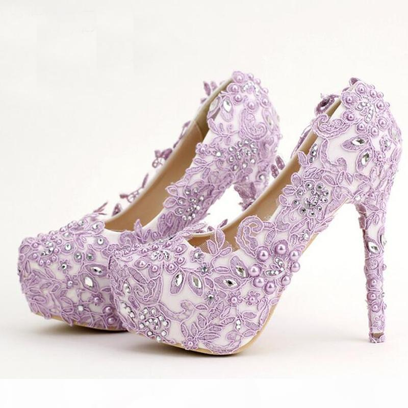 2019 Lavender Bride Shoes High Heel Platform Shoes with Lace Flower Rhinestone Wedding Shoes Spring Women Pumps for Prom Event