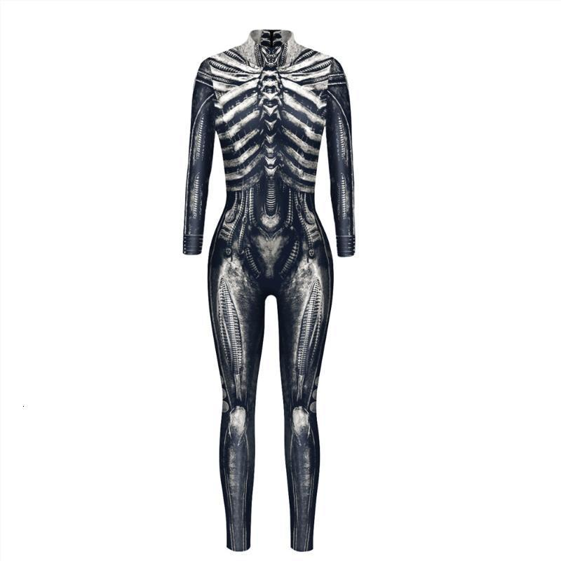 Women's Jumpsuits & Rompers Women Men Skeleton Scary Halloween Costume Vampire Jumpsuit Female Muscle Horror Carnival Party Purim Disguise 87IG