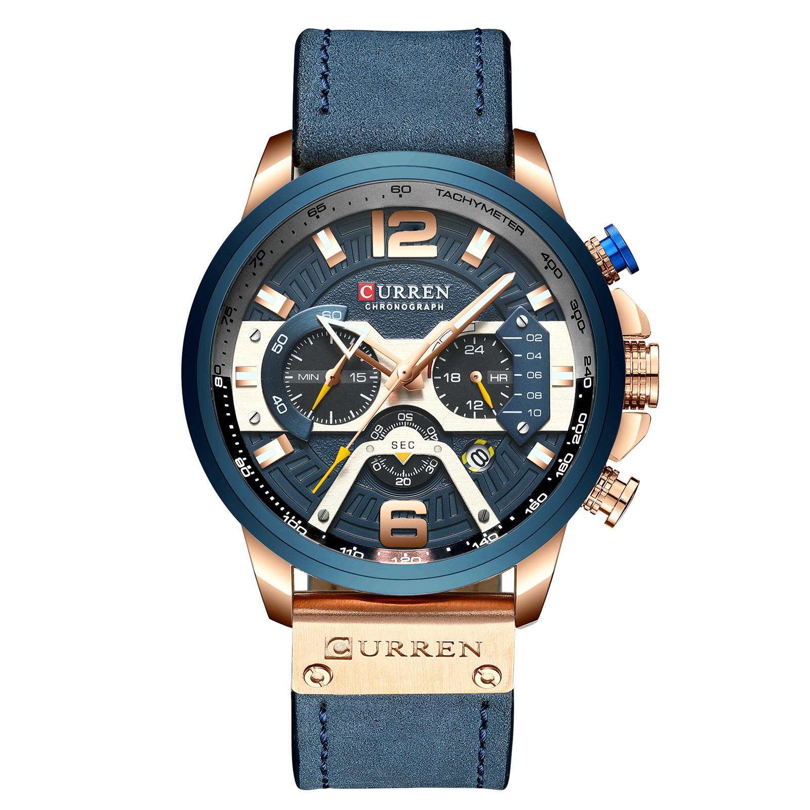 Curren 캐주얼 스포츠 시계 남성용 블루 탑 브랜드 럭셔리 군사 가죽 손목 시계 남자 시계 패션 크로노 그래프 손목 시계 6 아날로그 쿼츠 3 작은 실제 다이얼