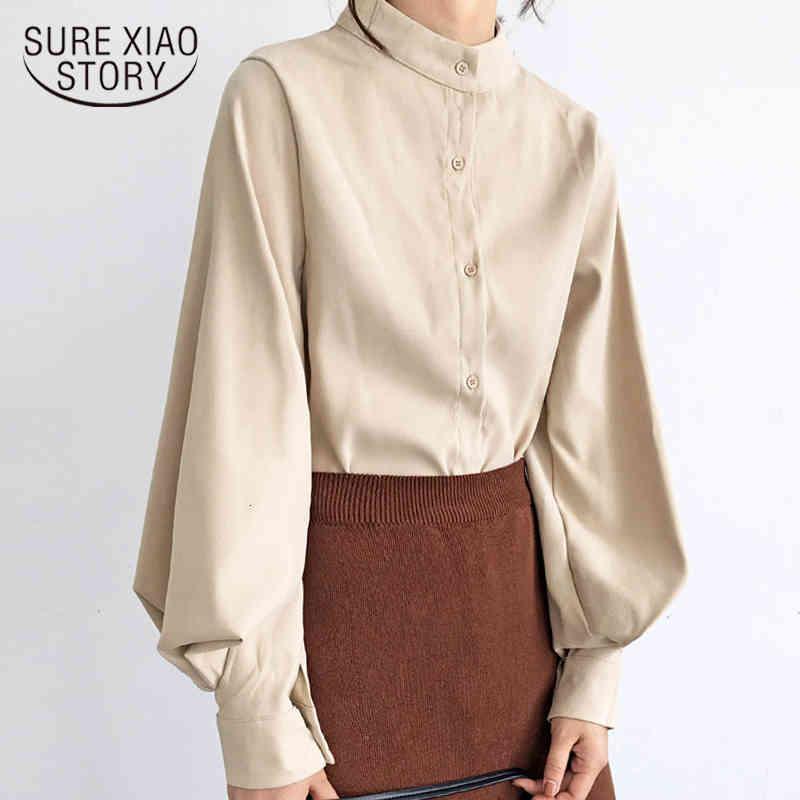 Мода 2019 стенд воротник офисный блузка женщины топы блузка рубашка фонарь с длинным рукавом женские рубашки женские женские вершины и блузки 50 T200321