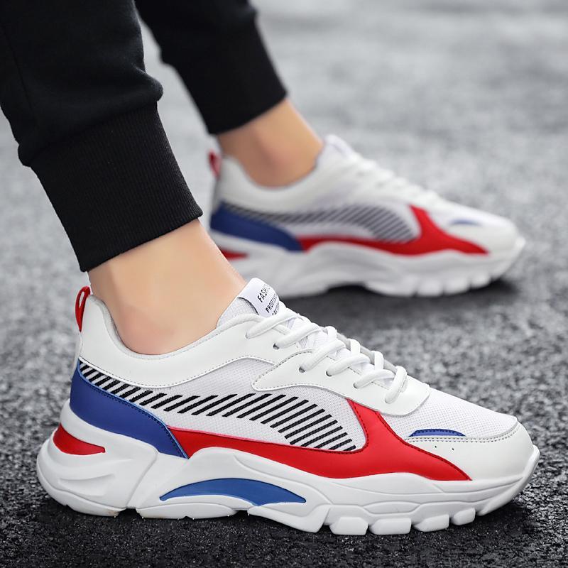 Erkekler Rahat Ayakkabılar Yüksek Kaliteli Sneakers Erkek Spor Ayakkabı Işık Nefes Mesh Koşu Ayakkabıları Moda Yüksekliği Artırıyor
