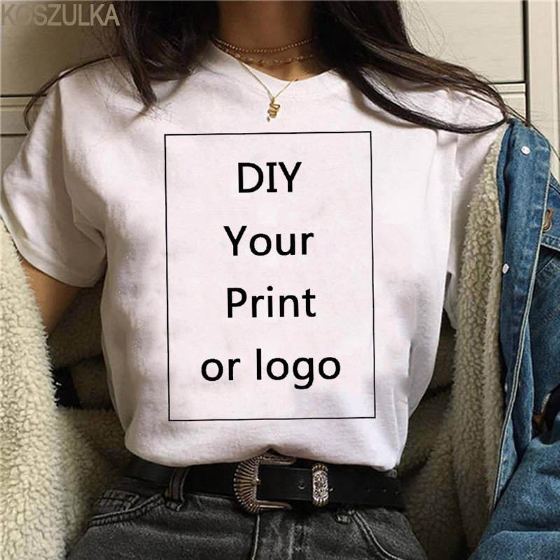 Harajuku Camiseta para mujer Verano Patrón de encargo Impresión T Shirt Casual Tops blancos Tshirt Tshirt Unisex